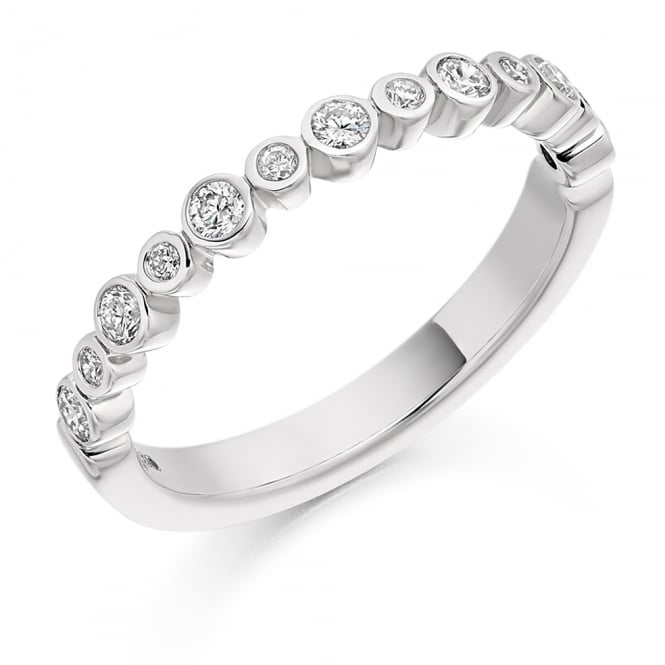 Lance James Wedding & Eternity 9ct White Gold 0.30ct Half Set Rubover Diamond Ring