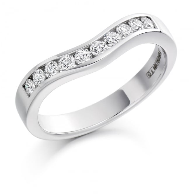 Lance James Wedding & Eternity 9ct White Gold 0.33ct Shaped & Curved Diamond Ring