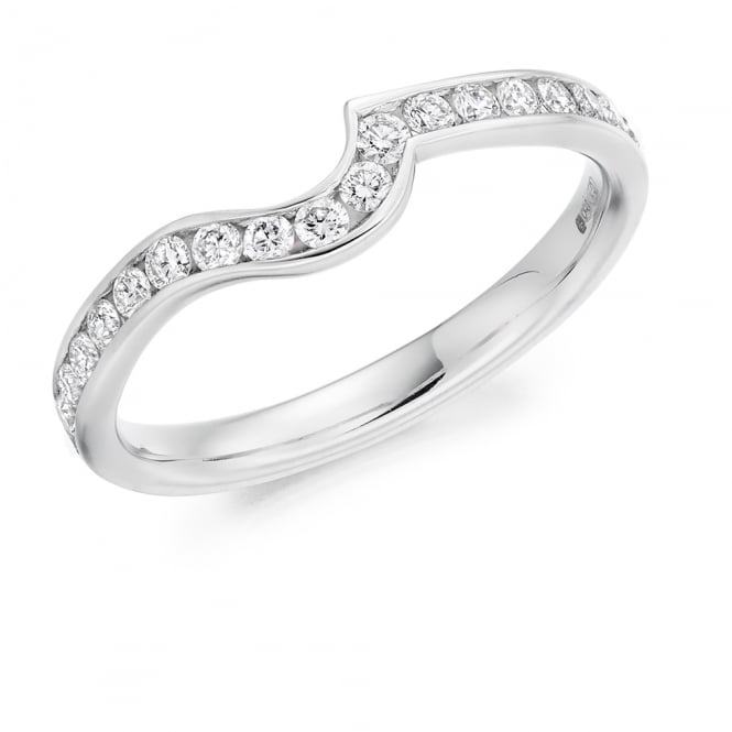 Lance James Wedding & Eternity 9ct White Gold 0.35ct Contour Shaped Diamond Wedding Ring