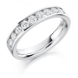 9ct White Gold 0.70ct Half Set Diamond Ring