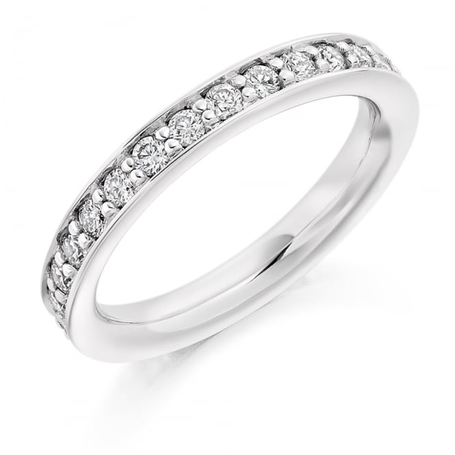 Lance James Wedding & Eternity 9ct White Gold 1.00ct Fully Diamond Set Grain Ring