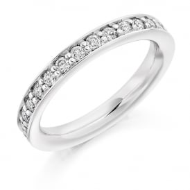 9ct White Gold 1.00ct Fully Diamond Set Grain Ring