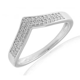 9ct White Gold Curved Diamond Set Ring