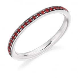 9ct White Gold Fully Set 0.30ct Ruby Eternity Ring