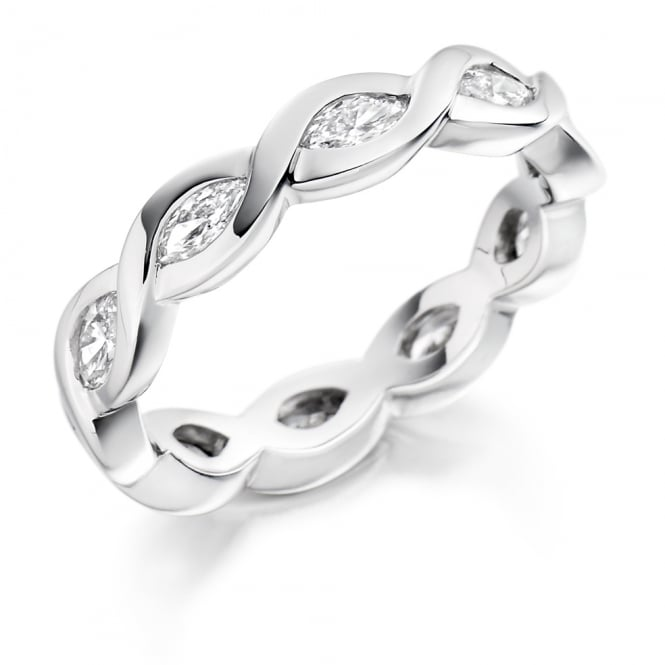 Lance James Wedding & Eternity 9ct White Gold Fully Set 1.00ct Marquise Cut Diamond Ring