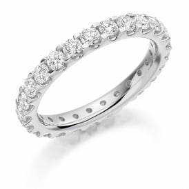 9ct White Gold Fully Set 1.5ct Brilliant Cut Diamond Ring