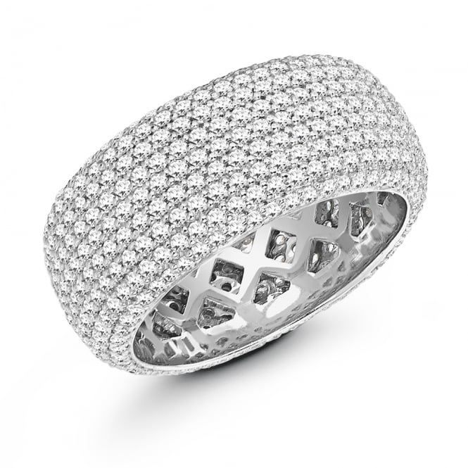 Lance James Wedding & Eternity 9ct White Gold Fully Set 2.40ct Pave Diamond Court Wedding Ring