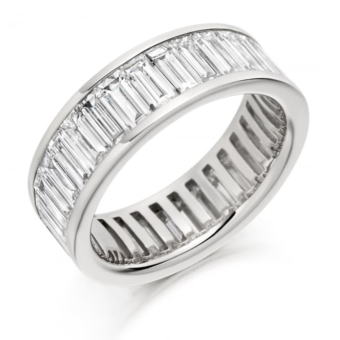 Lance James Wedding & Eternity 9ct White Gold Fully Set 4.50ct Baguette Cut Diamond Ring