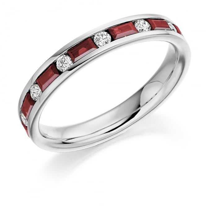 Lance James Wedding & Eternity 9ct White Gold Half Set 0.83ct Ruby & Diamond Eternity Ring