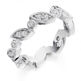 9ct White Gold Vintage Style Fully Set 0.50ct Diamond Ring