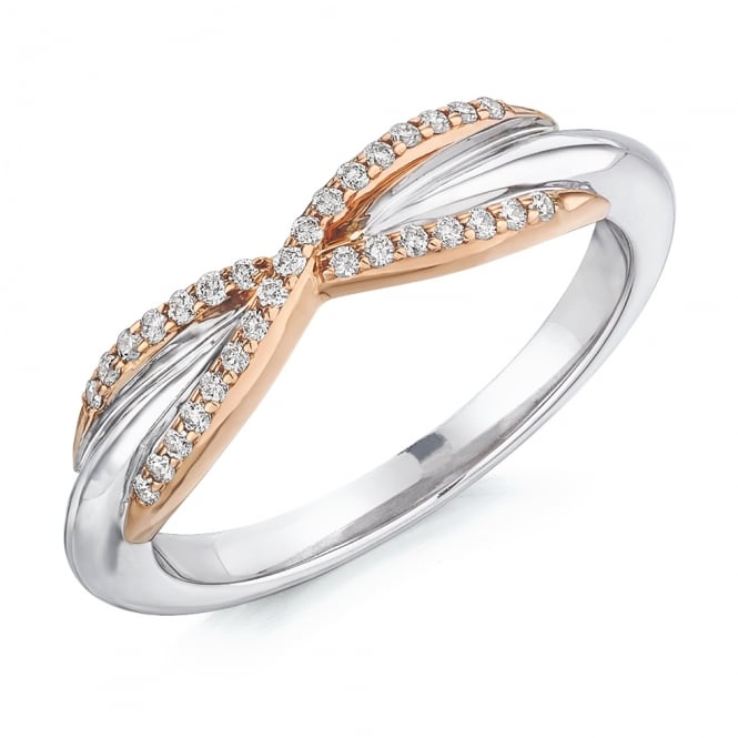 Lance James Wedding & Eternity 9ct White & Rose Gold 0.15ct Diamond Eternity Ring