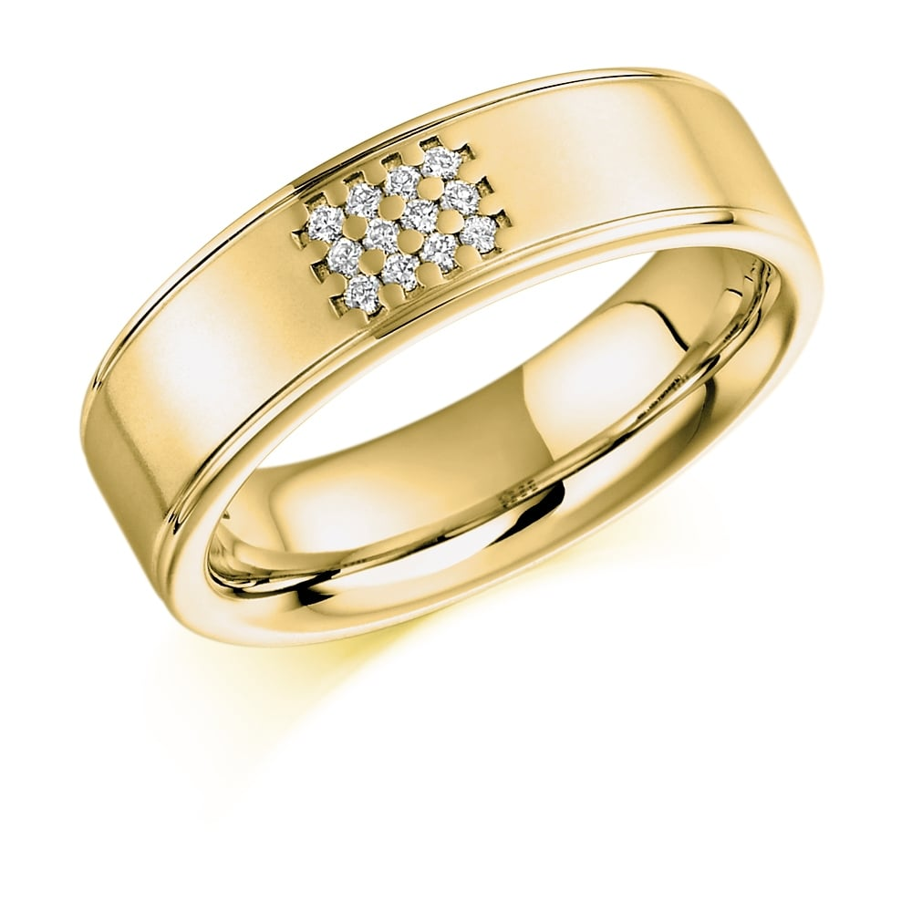 Lance James Wedding & Eternity 9ct Yellow Gold 0 08ct Diamond Set Wedding  Ring