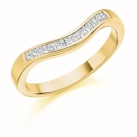 9ct Yellow Gold 0.25ct Contoured Princess Diamond Ring