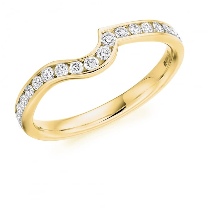 Lance James Wedding & Eternity 9ct Yellow Gold 0.35ct Contour Shaped Diamond Wedding Ring