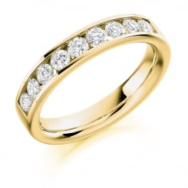 9ct Yellow Gold 0.70ct Half Set Diamond Ring