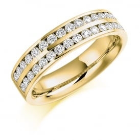 9ct Yellow Gold 0.75ct Channel Set Diamond Ring
