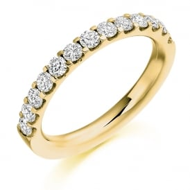 9ct Yellow Gold 0.75ct Half Set Diamond Band