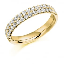9ct Yellow Gold 0.75ct Half Set Micro Claw Diamond Ring