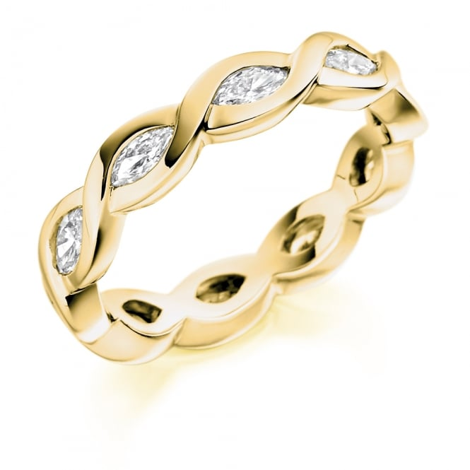 Lance James Wedding & Eternity 9ct Yellow Gold Fully Set 1.00ct Marquise Cut Diamond Ring