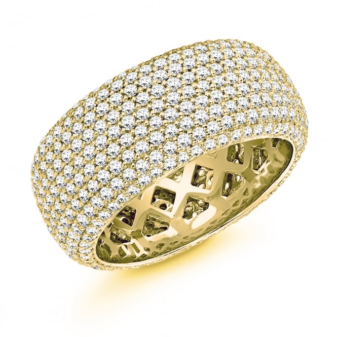 Lance James Wedding & Eternity 9ct Yellow Gold Fully Set 2.40ct Pave Diamond Court Wedding Ring