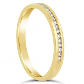 9ct Yellow Gold Half Set 0.07ct Diamond Eternity Ring
