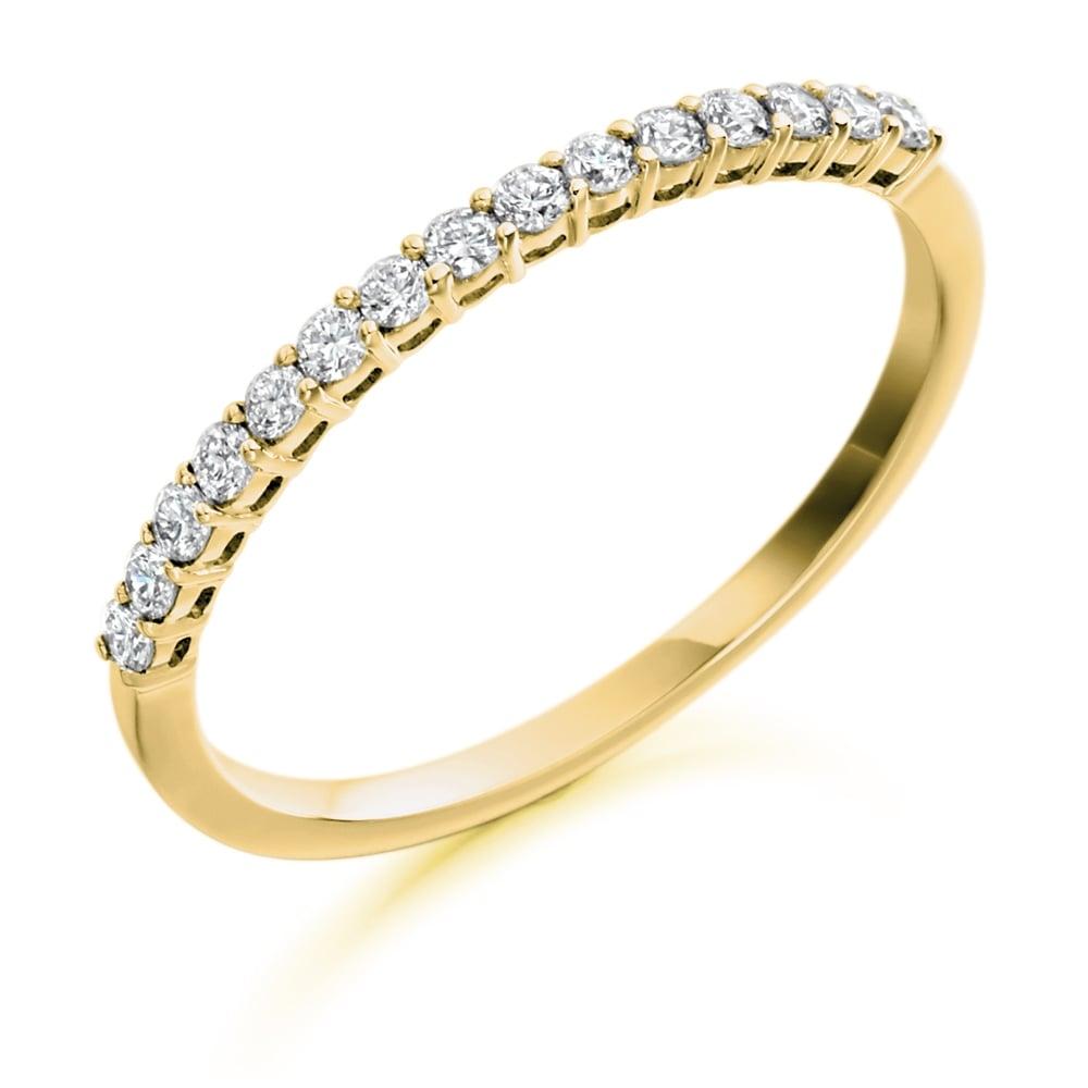 9ct yellow gold half set diamond eternity ring. Black Bedroom Furniture Sets. Home Design Ideas