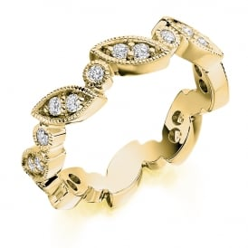 9ct Yellow Gold Vintage Style Fully Set 0.50ct Diamond Ring