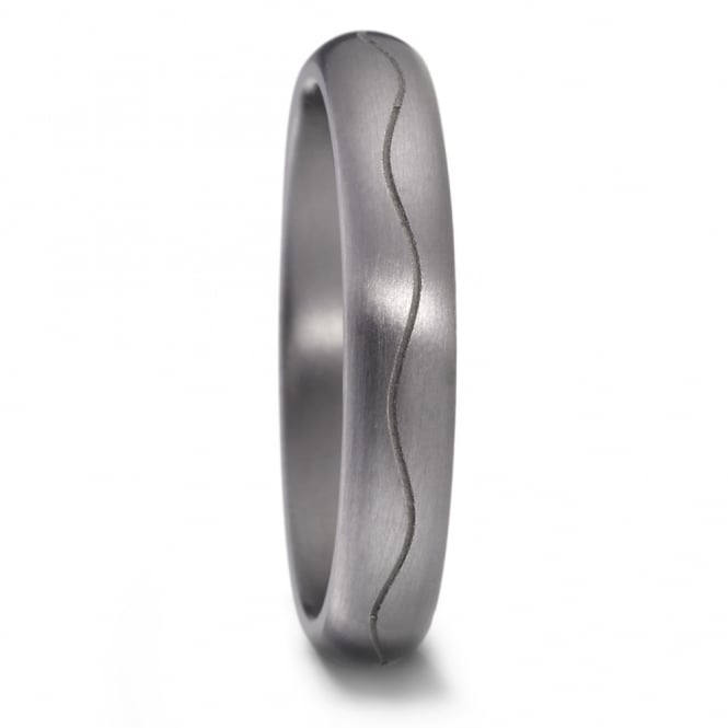 Lance James Wedding & Eternity Mens 4mm Tantalum Grooved Wave Wedding Ring