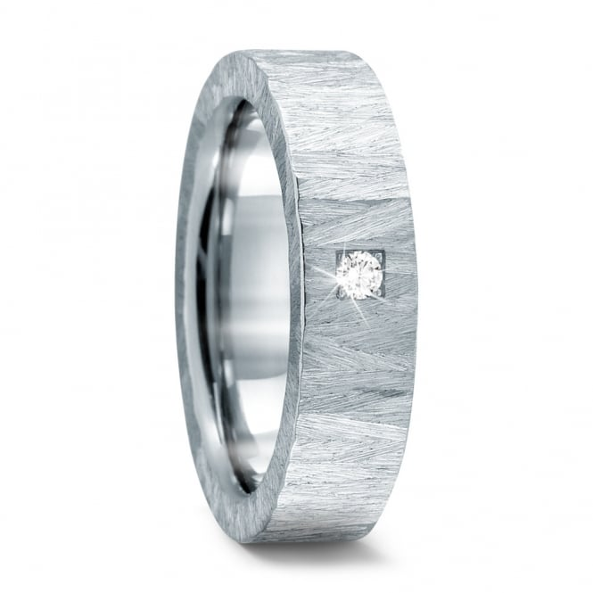 Lance James Wedding & Eternity Mens 6mm Stainless Steel 0.05ct Diamond Wedding Ring