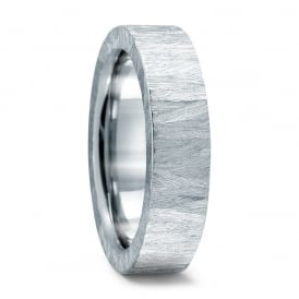 Mens 6mm Stainless Steel Structured Wedding Ring