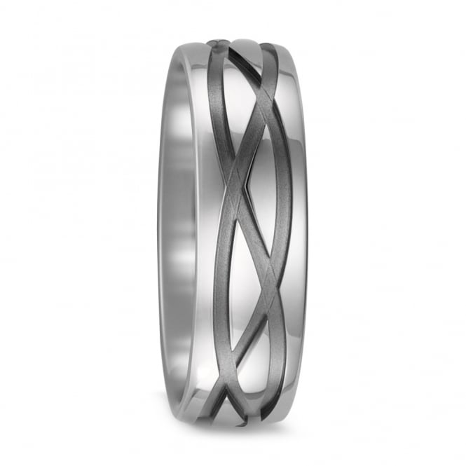 Lance James Wedding & Eternity Mens 7mm Pure Titanium Patterned Wedding Ring