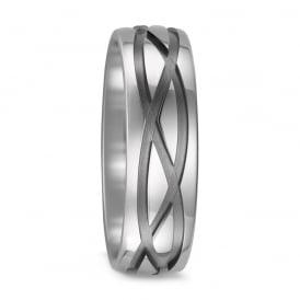 Mens 7mm Pure Titanium Patterned Wedding Ring