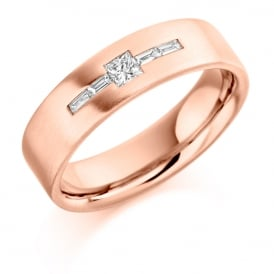 Mens 9ct Rose Gold 0.25ct Princess Cut Diamond Wedding Ring