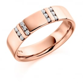 Mens 9ct Rose Gold Channel Set 0.22ct Diamond Wedding Ring