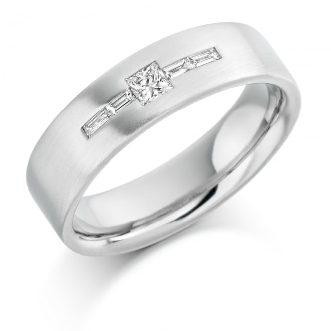 Lance James Wedding & Eternity Mens 9ct White Gold 0.25ct Princess Cut Diamond Wedding Ring