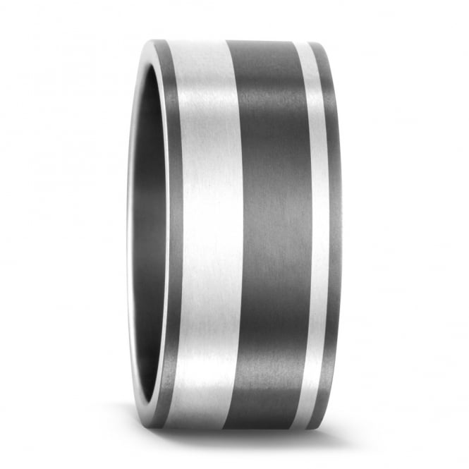 Lance James Wedding & Eternity Mens 9mm Sterling Silver & Titanium Striped Wedding Ring