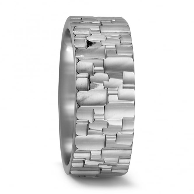 Lance James Wedding & Eternity Mens Pure Titanium Structured Wedding Ring