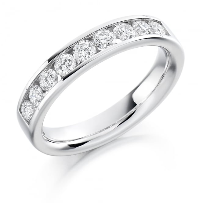 Lance James Wedding & Eternity Palladium 0.70ct Half Set Diamond Ring