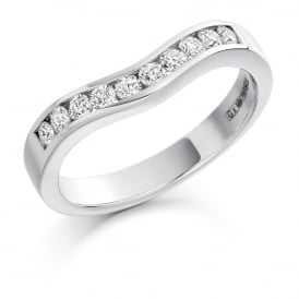 Platinum 0.33ct Shaped & Curved Diamond Ring