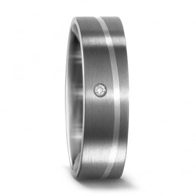Lance James Wedding & Eternity Unisex Palladium & Titanium 0.02ct Diamond Set Ring