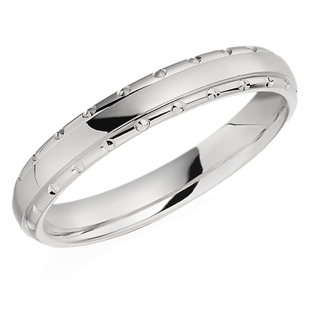 It is just an image of Lance James Wedding & Eternity Womens White Gold Patterned Edge Wedding Ring