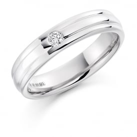 Mens 18ct White Gold 0.10ct Brilliant Diamond Wedding Band