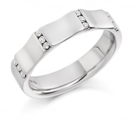 Mens 18ct White Gold Curved 0.18ct Diamond Wedding Ring