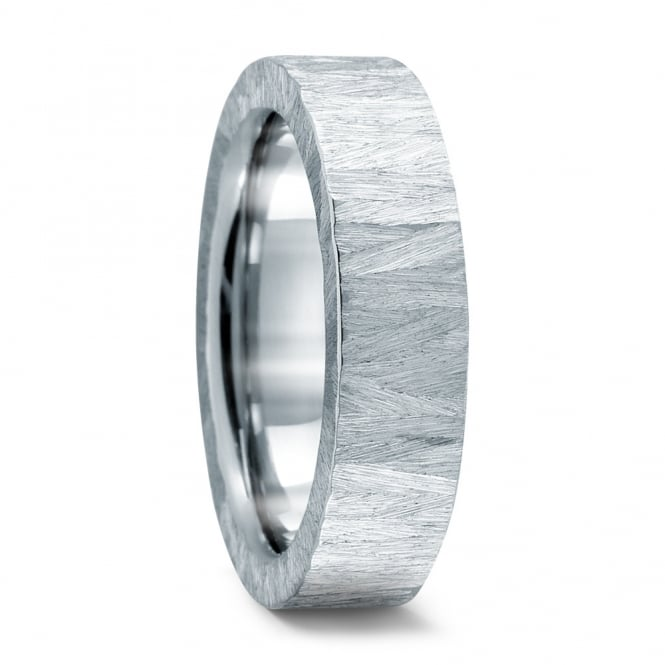 Lance James Wedding Mens 6mm Stainless Steel Structured Wedding Ring