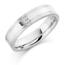 Mens 9ct White Gold 0.04ct Four Stone Diamond Wedding Ring