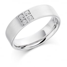 Mens 9ct White Gold 0.12ct Four Stone Diamond Set Wedding Band