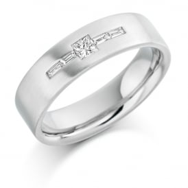 Mens 9ct White Gold 0.25ct Princess Cut Diamond Wedding Ring