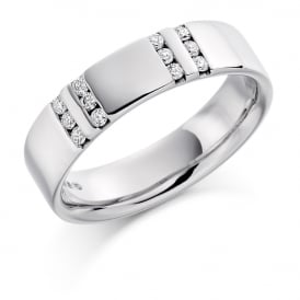 Mens 9ct White Gold Channel Set 0.22ct Diamond Wedding Ring