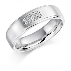 Mens 9ct White Gold Grain Set 0.06ct Diamond Wedding Ring