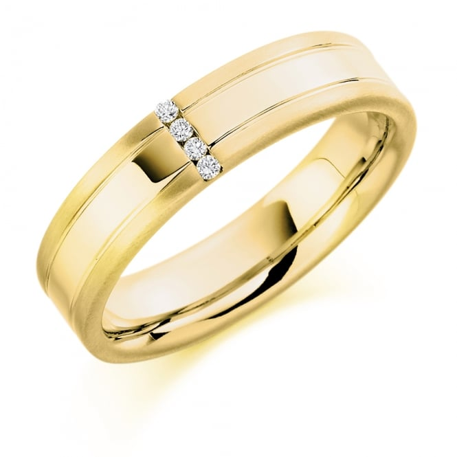 Lance James Wedding Mens 9ct Yellow Gold 0.04ct Four Stone Diamond Wedding Ring